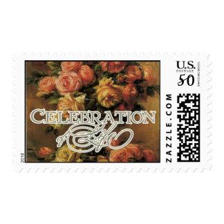 Impressionist Coral Yellow Rose Celebration LIfe Postage