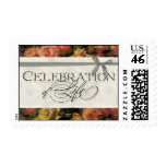 Impressionist Coral Yellow Rose Celebration LIfe Postage Stamps