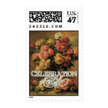 Impressionist Coral Yellow Rose Celebration LIfe Postage Stamp