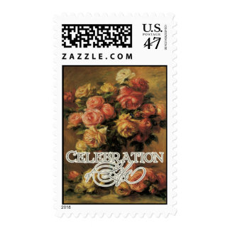 Impressionist Coral Yellow Rose Celebration LIfe Postage Stamp