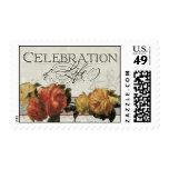 Impressionist Coral Yellow Rose Celebration LIfe Stamp