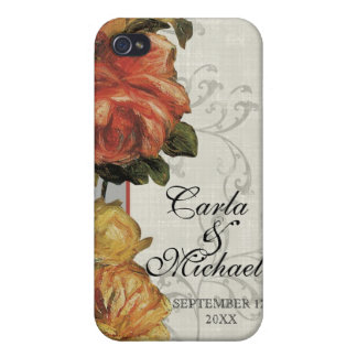 Impressionist Coral Yellow Wedding or Anniversary Cover For iPhone 4