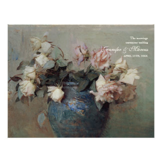 Impressionist Cream Pink Roses - Wedding Program