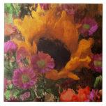 Impressionist Floral Bouquet Large Square Tile