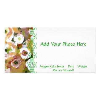Impressionist Flowers Birth Announcement Custom Photo Card