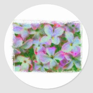 Impressionist Lilacs with painted edge Classic Round Sticker