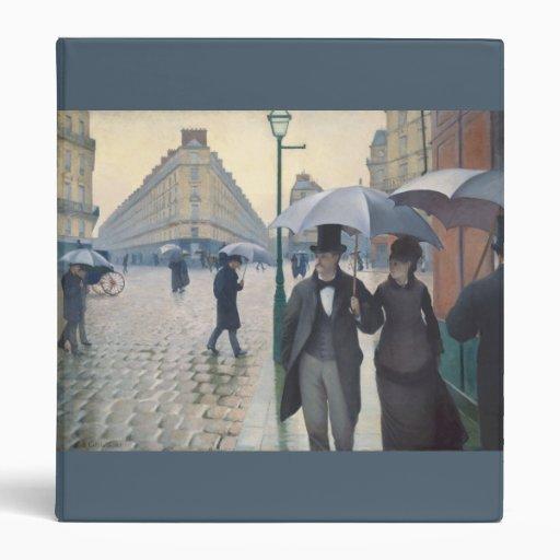 Impressionist Paris Street Rainy Day Fine Art 3 Ring Binder