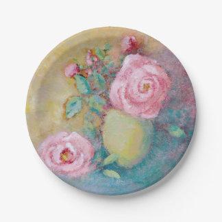 Impressionist Rose Paper Plate
