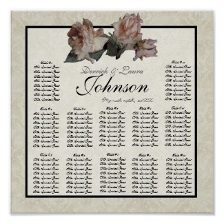 Impressionist Roses Reception Table Seating Chart print