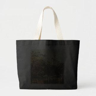 Impressionist Sailboats in Central Park Dark Tote Canvas Bag