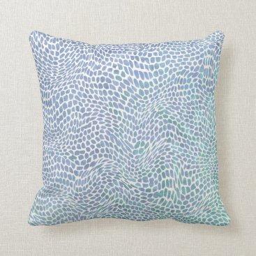 Beach Themed Impressionist Sea Glass Ocean Wave Swirl Pattern Throw Pillow