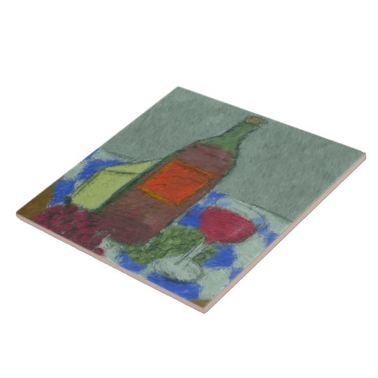 Impressionist Still Life with Wine Ceramic Tile