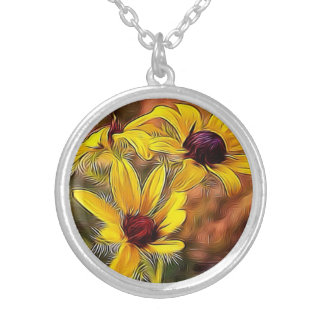 Impressionist Style Black Eyed Susans necklace