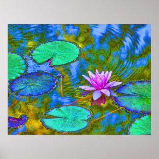 Impressionist Style Lilypad in Italian Garden Poster