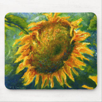 Impressionist Sunflower Face Mouse Mat