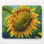 Impressionist Sunflower Face Mouse Pad