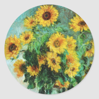Impressionist Sunflowers Classic Round Sticker
