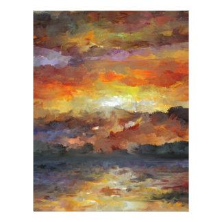 Impressionist Sunset Sunrise ocean water Waves Letterhead
