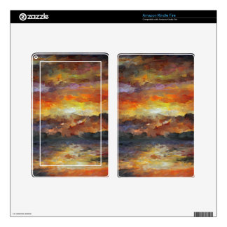 Impressionist Sunset Sunrise ocean water Waves Skin For Kindle Fire