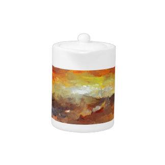 Impressionist Sunset Sunrise ocean water Waves Teapot