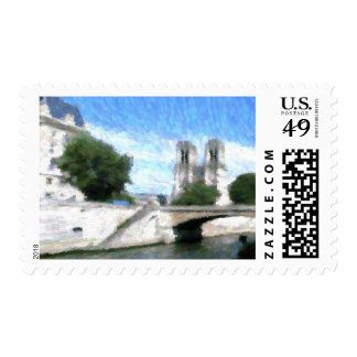 Impressionist view of the Seine and the Notre Dame Postage