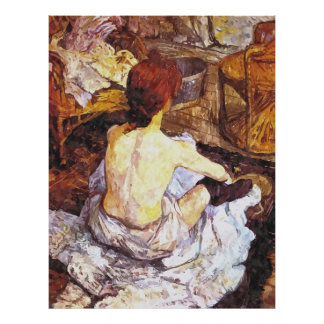 Impressionist watercolor woman in bathroom poster