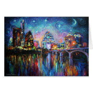 Impressionistic Austin City downtown painting Card