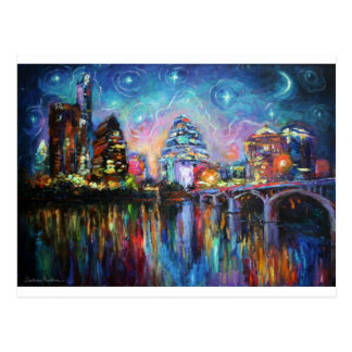 Impressionistic Austin City downtown painting Postcard