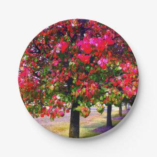 Impressionistic Autumn trees Paper Plate