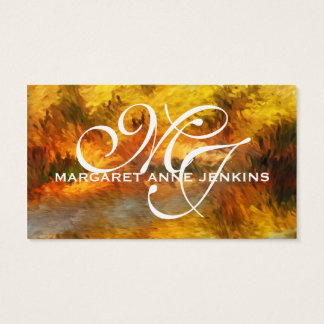 Impressionistic Golden Hues Monogrammed Business Card