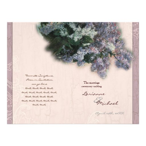 Impressionistic Lilacs -  Wedding Program