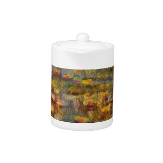 Impressionistic  Lilly Abstract Fine Art Products Teapot