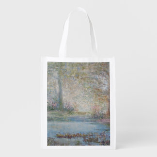 Impressionistic Pink and Blue Swamp Reusable Grocery Bag
