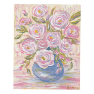 Impressionistic Pink Flowers in Blue Vase Panel Wall Art