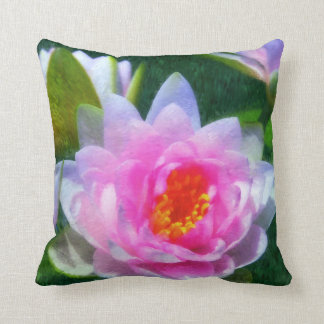 Impressionistic Water Lily Floral Throw Pillow
