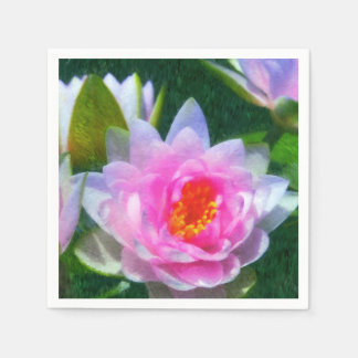 Impressionistic Water Lily Paper Napkin