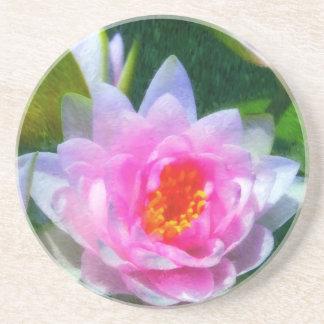 Impressionistic Water Lily Sandstone Coaster