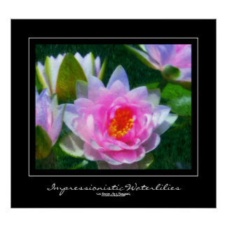 Impressionistic Waterlilies, Black Border Poster