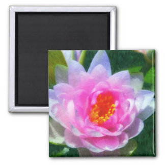 Impressionistic Waterlily 2 Inch Square Magnet