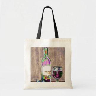 Impressionistic Wine and Grapes Art Canvas Bag