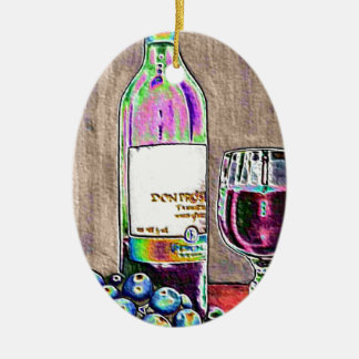 Impressionistic Wine and Grapes Art Double-Sided Oval Ceramic Christmas Ornament