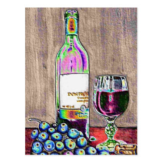 Impressionistic Wine and Grapes Art Postcard