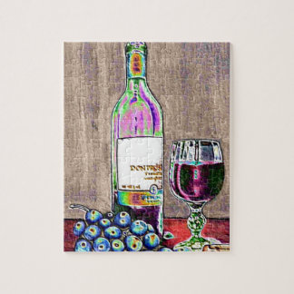 Impressionistic Wine and Grapes Art Puzzles