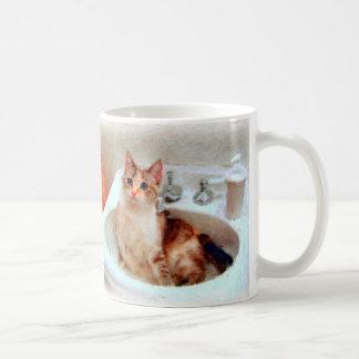 Impressionist's Cat in a Sink Basin Mug