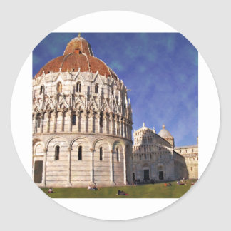 Impressitaly Pisa Battistero Classic Round Sticker