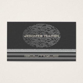 Impressive elegant chic linen damask ellipse business card