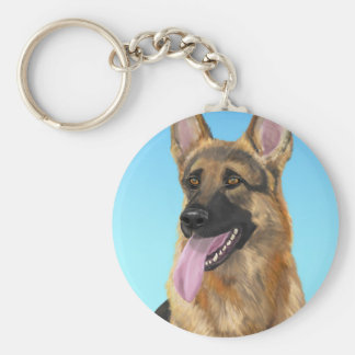 Impressive German Shepherd with his Tongue Out Keychain