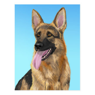 Impressive German Shepherd with his Tongue Out Postcard