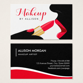 Impressive Makeup Artist Hot Red Lips Lipstick Business Card