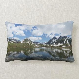 Impressive mountain landscape: lake, cloud, sky lumbar pillow